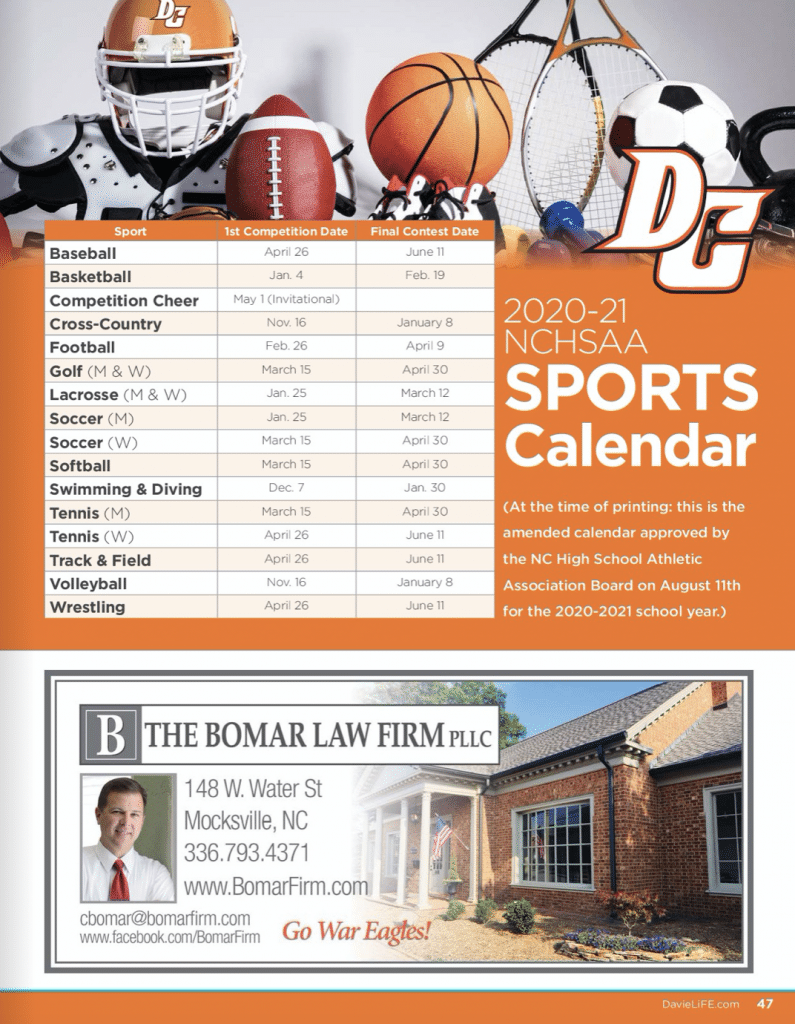 2020-21 Davie County Schools NCHSAA Sports Calendar sponsored by The Bomar Law Firm