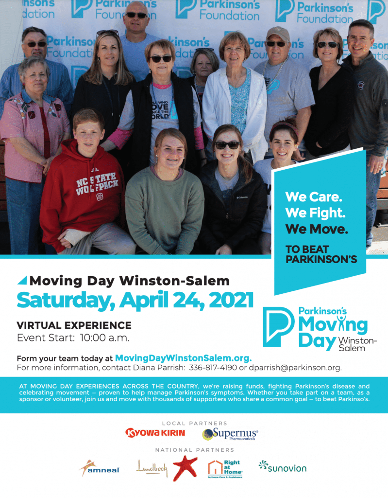 Parkinson's virtual Moving Day/Winston-Salem set for April 24